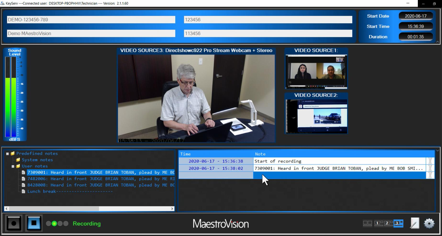 Courtroom recording MaestroVision Keyserv