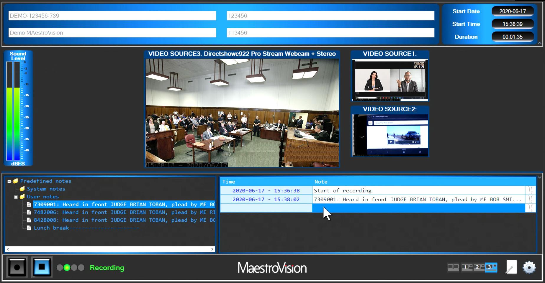 Système d'enregistrement digital pour salles d'audience